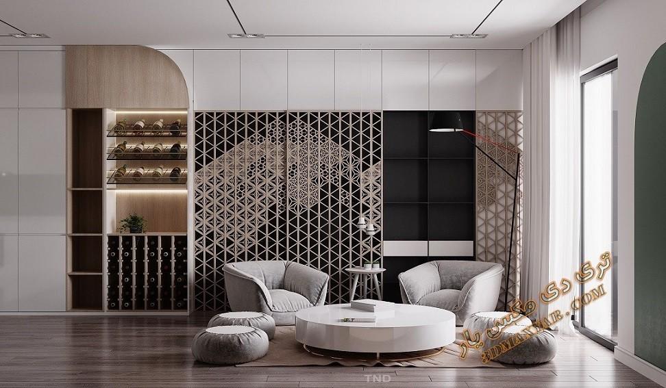 پروژه آماده فضای داخلی آپارتمان - 3dmaxyar.com