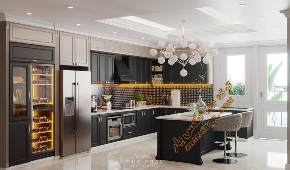 پروژه آماده فضای داخلی آشپزخانه - 3dmaxyqar.com