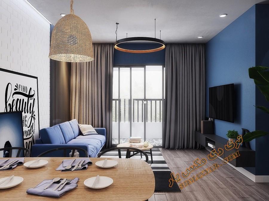 پروژه آماده فضای داخلی آپارتمان -3dmaxyar.com