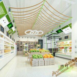 پروژه آماده فروشگاه مواد غذایی یا سوپر مارکت برای تری دی مکس