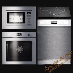 آبجکت لوازم آشپزخانه (مایکروفر، فر، ظرفشویی) برای تری دی مکس شماره 3