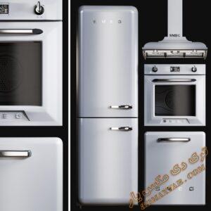 آبجکت لوازم آشپزخانه (هود، فر، یخچال فریزر) برای تری دی مکس شماره 5