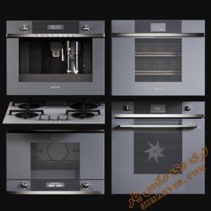آبجکت لوازم آشپزخانه (مایکروفر، فر، اجاق گاز) برای تری دی مکس شماره 4