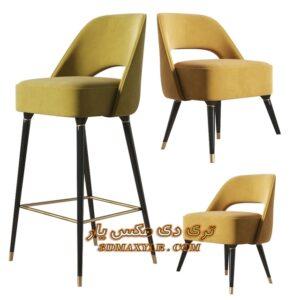 آبجکت تجهیزات بار (صندلی پایه بلند) برای تری دی مکس شماره 29