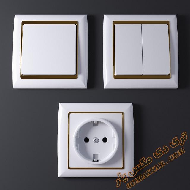 آبجکت کلید و پریز برق برای تری دی مکس -3dmaxyar.com