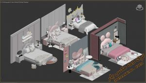 آبجکت تخت خواب کودک برای تری دی مکس شماره 9