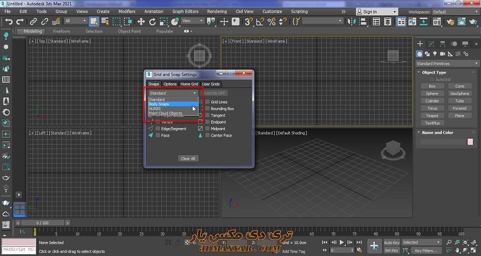 پنجره grid and snap setting