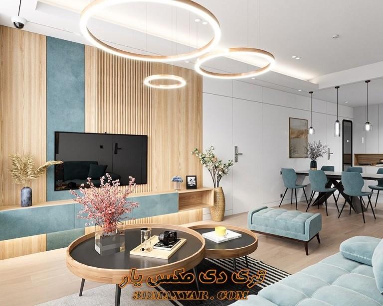 پروژه فضای داخلی آپارتمان برای تری دی مکس-3dmaxyar.com