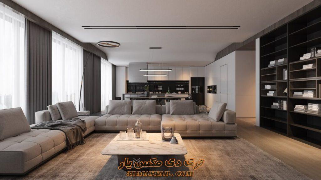 صحنه آماده فضای آپارتمان برای تری دی مکس -3dmaxyar.com