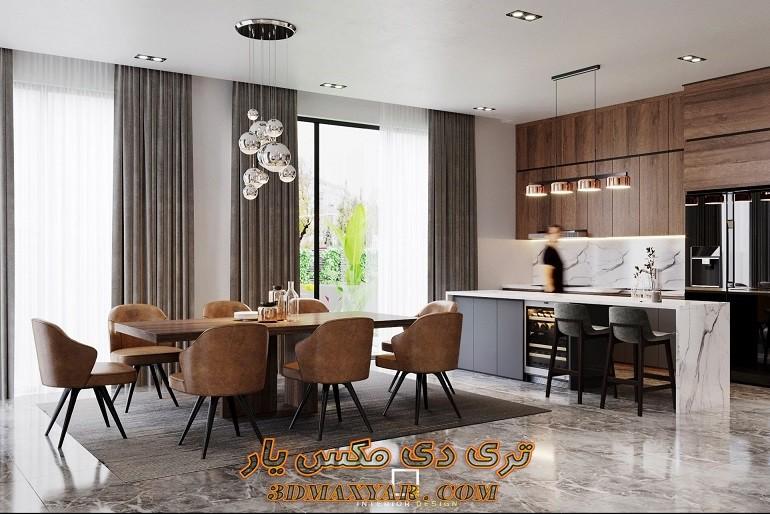صحنه آماده فضای داخلی آپارتمان برای تری دی مکس-3dmaxyar.com