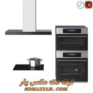 آبجکت لوازم آشپزخانه (گاز رو میزی-هود-فر و مایکروفر)برای تری دی مکس شماره 7