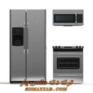 آبجکت لوازم آشپزخانه (یخچال-گاز-مایکروفر) برای تری دی مکس شماره 8